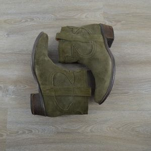 Lucky army green suede ankle boots